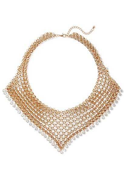 Plus Size Rhinestone Mesh Bib Necklace - Fashion To Figure