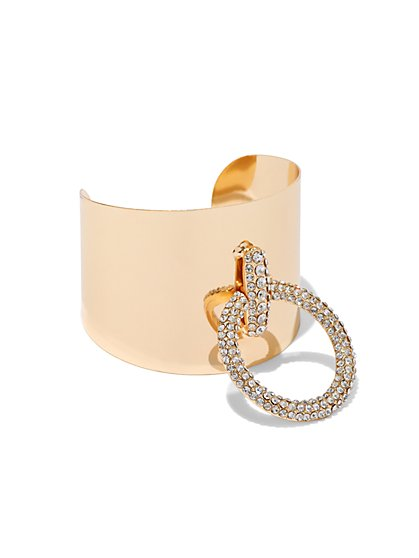 Plus Size Rhinestone Ring Cuff Bracelet - Fashion To Figure