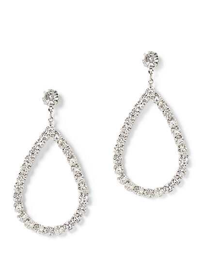 Plus Size Rhinestone Teardrop Earrings - Fashion To Figure