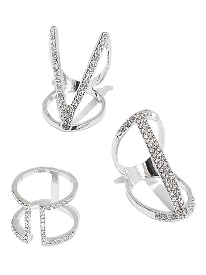 Plus Size Rhinestone Three Ring Set - Fashion To Figure