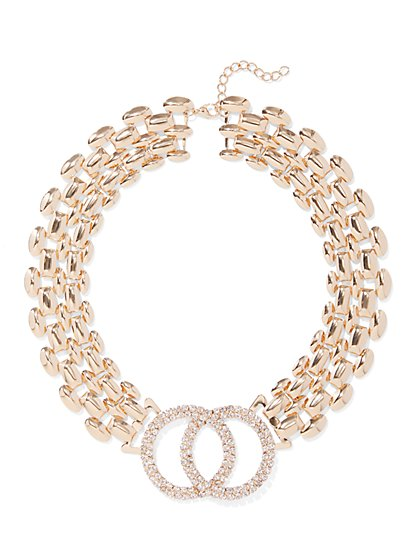 Plus Size Rhinestone and Chain Necklace - Fashion To Figure