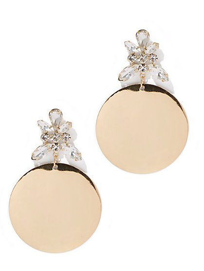 Plus Size Rhinestone and Circle Drop Earring - Fashion To Figure