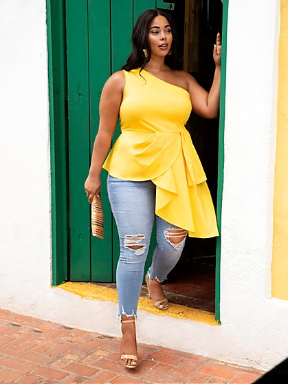 Plus Size Rianna Asymmetric Drape Blouse - Fashion To Figure