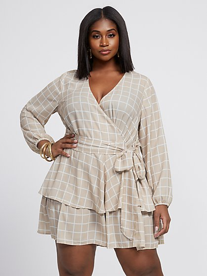 Plus Size Rihanna Grid Print Flutter Romper Dress - Fashion To Figure