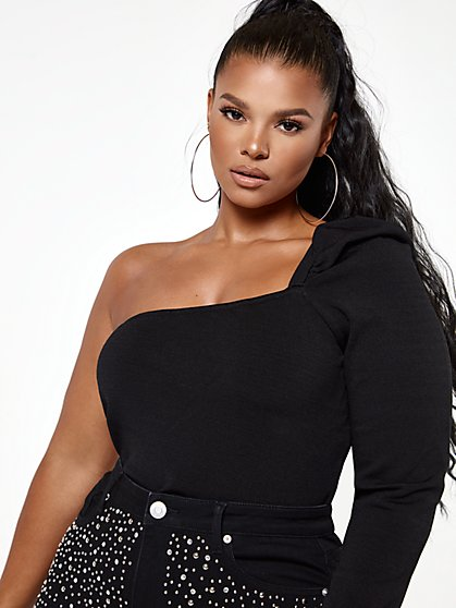 Plus Size Riley One Shoulder Puff Sleeve Sweater - Fashion To Figure