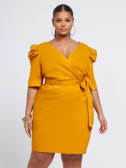 Plus Size Riley Poplin Wrap Dress - Fashion To Figure