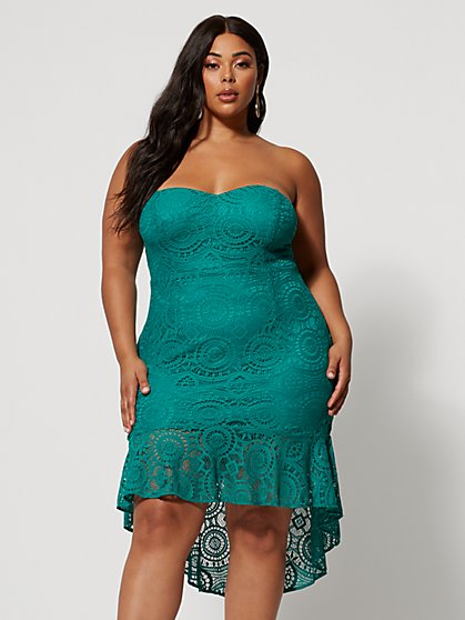 Plus Size Rina Strapless Lace Dress - Fashion To Figure