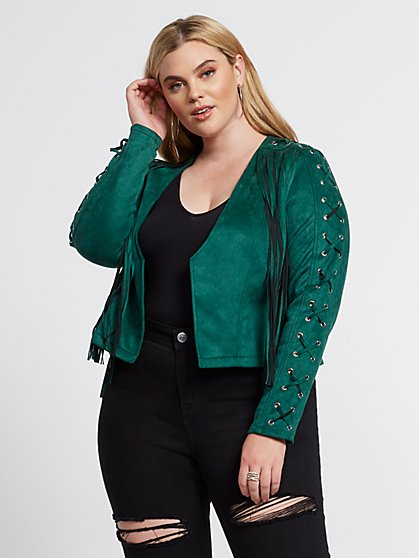 Plus Size Robyn Faux-Suede Fringe Moto Jacket - Fashion To Figure