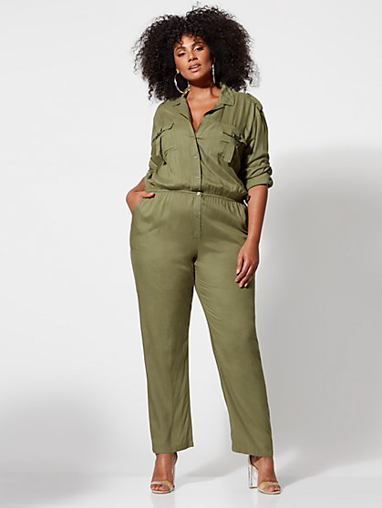 Plus Size Robyn Military Jumpsuit - Fashion To Figure
