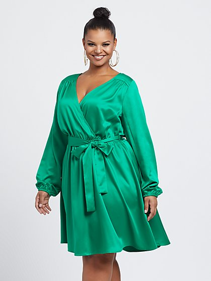 Plus Size Rochelle Satin Tie-Front Flare Dress - Fashion To Figure