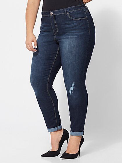 Plus Size Roll-Cuff Skinny Jeans - Fashion To Figure