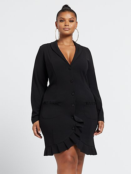 Plus Size Romy Pleat Detail Blazer Dress - Fashion To Figure