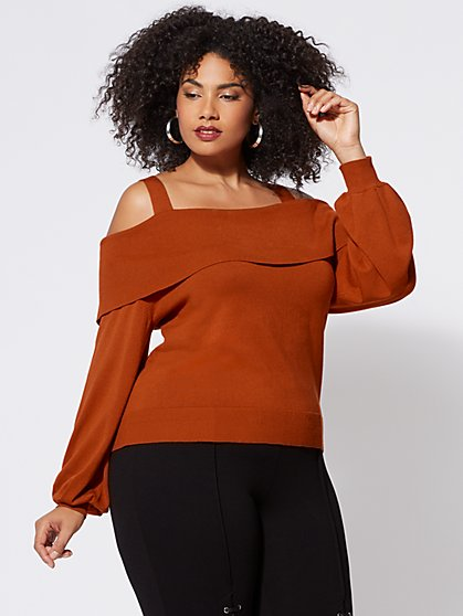 Plus Size Rory Foldover Sweater - Fashion To Figure