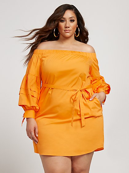 Plus Size Rosalee Off The Shoulder Poplin Dress - Fashion To Figure