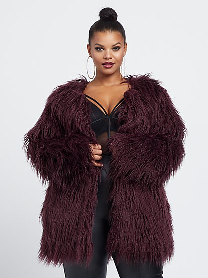 Plus Size Rosalie Faux-Fur Coat - Fashion To Figure