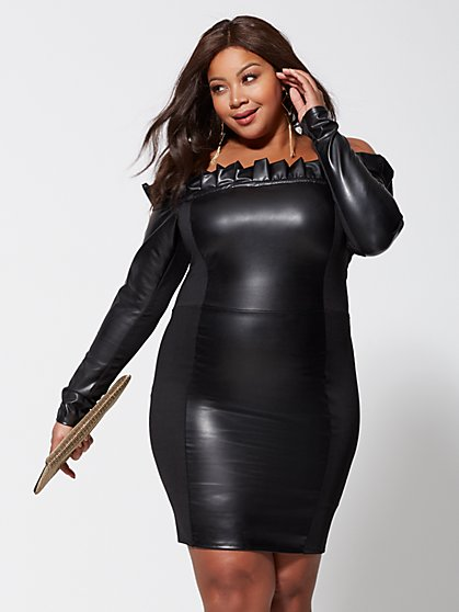 Plus Size Rosalie Faux-Leather Dress - Fashion To Figure