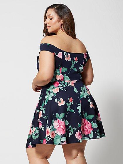 49e8b4587d47 ... Plus Size Rosalie Off Shoulder Floral Flare Dress - Fashion To Figure  ...