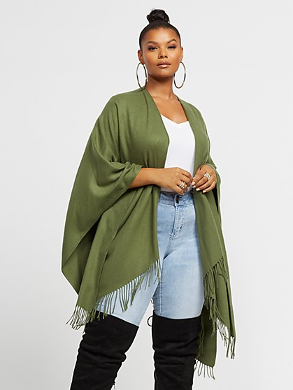 Plus Size Rosaline Fringe Ruana - Fashion To Figure