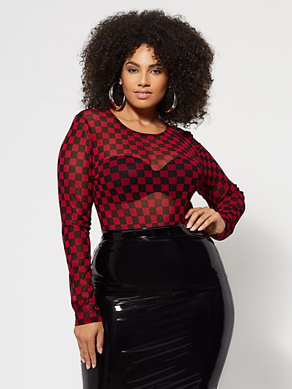 Plus Size Rosario Checkered Mesh Top - Fashion To Figure