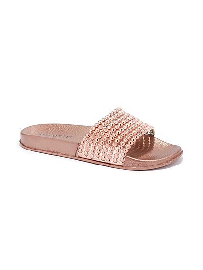 Plus Size Rose Gold Beaded Slide Sandals - Fashion To Figure