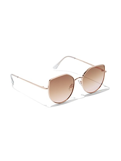Plus Size Rose Gold Cat Eye Sunglasses - Fashion To Figure