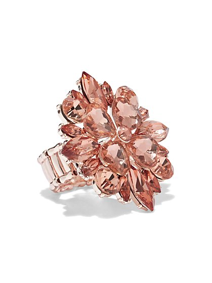 Plus Size Rose Gold Cocktail Ring - Fashion To Figure