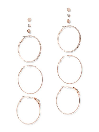 Plus Size Rose Gold Earring Set - Fashion To Figure