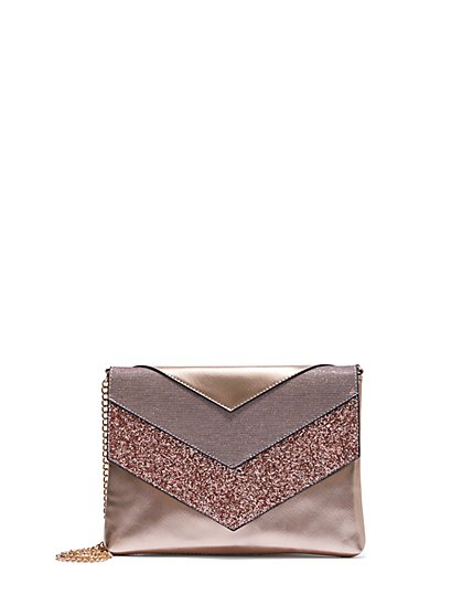 Plus Size Rose Gold Glitter Clutch - Fashion To Figure