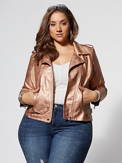 Plus Size Rose Gold Moto Jacket - Fashion To Figure
