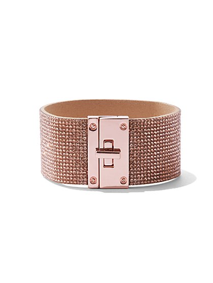 Plus Size Rose Gold Rhinestone Bracelet - Fashion To Figure
