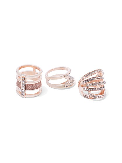 Plus Size Rose Gold Ring Set - Fashion To Figure
