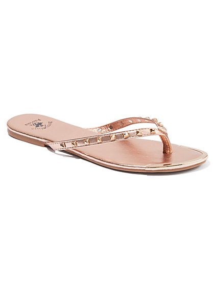 Plus Size Rose Gold Studded Flip-Flop Sandals - Wide Width - Fashion To Figure