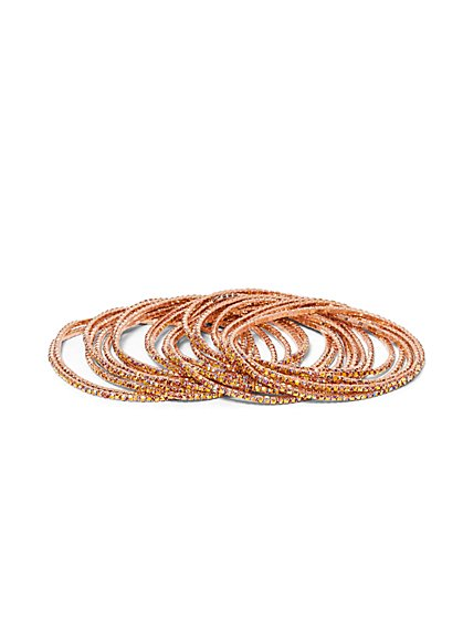 Plus Size Rose Gold-Tone Bangle Bracelet Set - Fashion To Figure