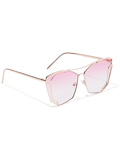 Plus Size Rose-Tinted Metal Wire Sunglasses - Fashion To Figure