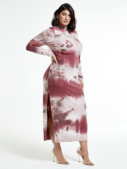 Plus Size Rosie Mockneck Tie Dye Maxi Dress - Fashion To Figure