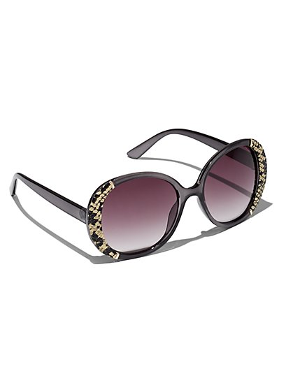 Plus Size Round Snakeskin Detail Sunglasses - Fashion To Figure