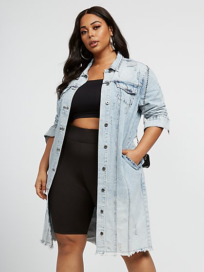 Plus Size Rowan Acid Wash Denim Trucker Jacket - Fashion To Figure