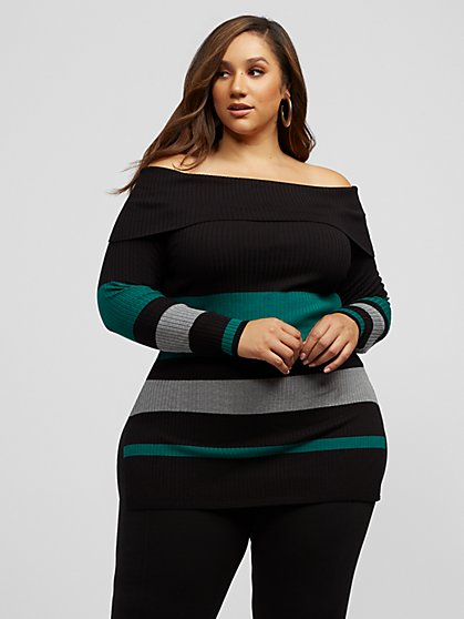 Plus Size Rowan Off Shoulder Stripe Sweater - Fashion To Figure