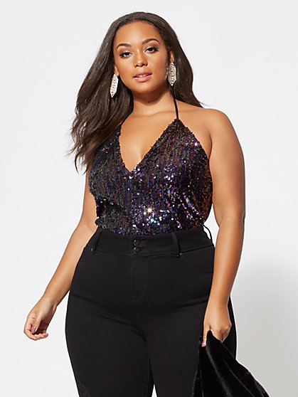 Plus Size Rowan Sequin Halter Bodysuit - Fashion To Figure