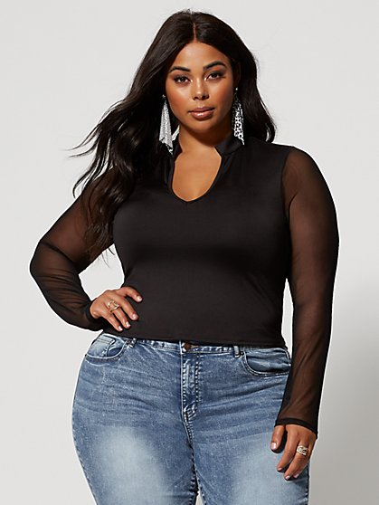 Plus Size Rowynne Mesh Sleeve Top - Fashion To Figure