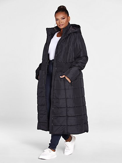 Plus Size Roxanne Cinched Long Puffer Coat - Fashion To Figure