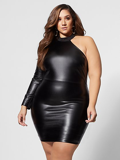 Plus Size Roxie Faux-Leather Bodycon Dress - Fashion To Figure