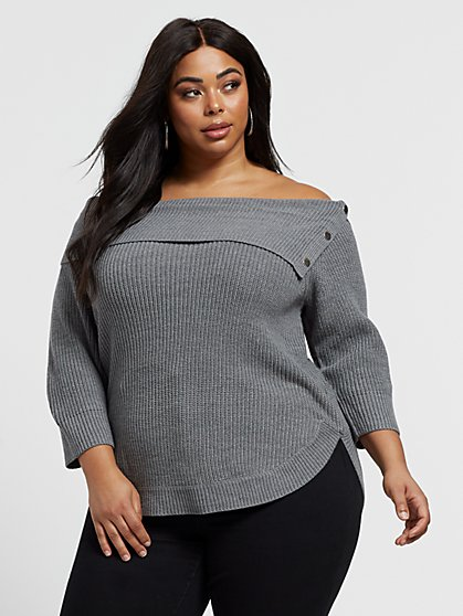 Plus Size Roxie Off Shoulder Sweater - Fashion To Figure