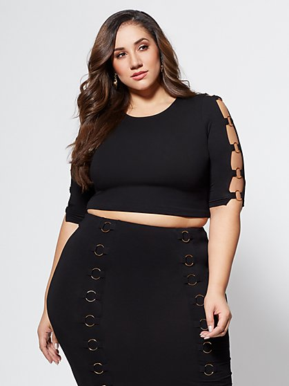 Plus Size Roxy Ring Detail Top - Fashion To Figure