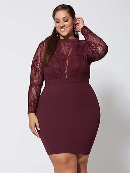 Ruby Lace Detail Bodycon Dress - New York & Company