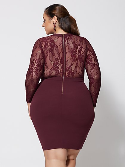 ... Plus Size Ruby Lace Detail Bodycon Dress - Fashion To Figure bec07ee15