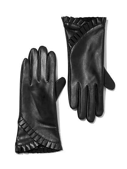 Plus Size Ruffle Faux-Leather Gloves - Fashion To Figure