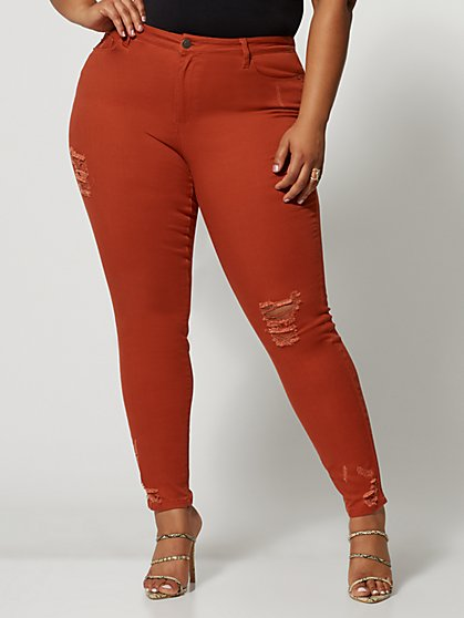 Plus Size Rust Mid-Rise Destructed Skinny Jeans - Fashion To Figure