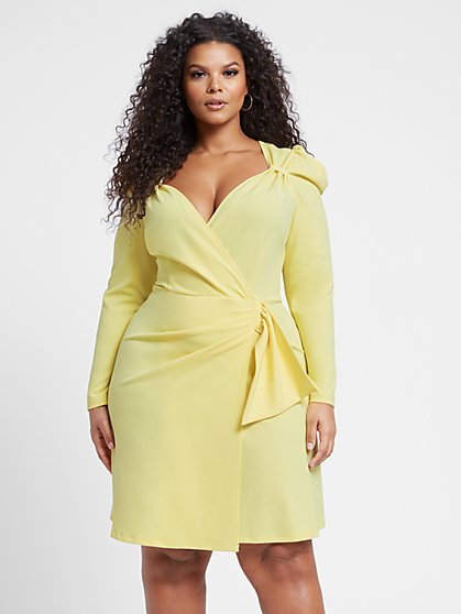 Plus Size Ruth Long Sleeve Casade Side Dress - Fashion To Figure