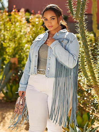 Plus Size Ruthie Fringe Trucker Denim Jacket - Fashion To Figure
